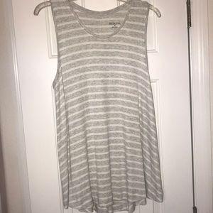 Grey and white sleeveless top